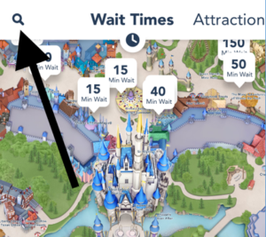 You can move the map around and see wait time bubbles for all four theme parks. Or, you can tap on the filter button to see one park at a time. Tap on the List View to the right of the filter to see that park's wait times from shortest to longest.